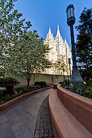 A pathway in leading in front of the Salt Lake City LDS Temple in Summer.