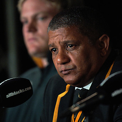 Springboks coach Allister Coetzee faces the media after The Rugby Championship match between the NZ All Blacks and South Africa Springboks at AMI Stadium in Christchurch, New Zealand on Saturday, 17 September 2016. Photo: Dave Lintott / lintottphoto.co.nz