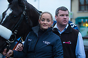 19th March 2016, Gordon Elliott trained Don Cossack homecoming to Summerhill<br /> Gordon Elliott & Louise Dunne with Don Cossack during the Summerhill homecoming<br /> Photo: David Mullen /www.cyberimages.net / 2016