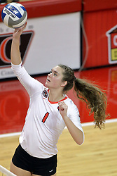23 October 2015:  Ali Line(1) attacks on the outside during an NCAA women's volleyball match between the Wichita State Shockers and the Illinois State Redbirds at Redbird Arena in Normal IL (Photo by Alan Look)