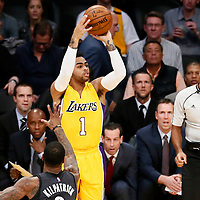 15 November 2016: Los Angeles Lakers guard D'Angelo Russell (1) takes a jump shot during the LA Lakers 125-118 victory over the Brooklyn Nets, at the Staples Center, Los Angeles, California, USA.