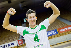 Uros Pavlovic of Panvita Pomgrad  celebrates after winning during volleyball game between OK ACH Volley and OK Panvita Pomgrad in 1st final match of Slovenian National Championship 2013/14, on April 6, 2014 in Arena Tivoli, Ljubljana, Slovenia. Photo by Vid Ponikvar / Sportida