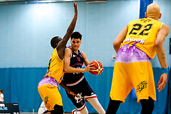 Tevin Falzon of Bristol Flyers takes on Ladarius Tabb of London Lions - Photo mandatory by-line: Robbie Stephenson/JMP - 10/04/2019 - BASKETBALL - UEL Sports Dock - London, England - London Lions v Bristol Flyers - British Basketball League Championship