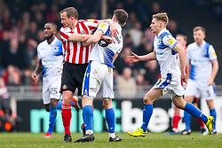 Ollie Clarke of Bristol Rovers is challenged by Lee Cattermole of Sunderland - Rogan/JMP - 23/02/2019 - FOOTBALL - Memorial Stadium - Bristol, England - Bristol Rovers v Sunderland - EFL Sky Bet League One.