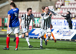 Dunfermline&rsquo;s Michael Moffat cele scoring their third goal. <br /> Half time : Dunfermline 4 v 0 Cowdenbeath, SPFL Ladbrokes League Division One game played 15/8/2015 at East End Park.