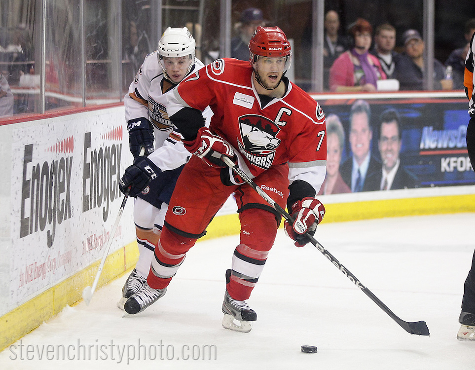 April 26, 2013: The Oklahoma City Barons play the Charlotte Checkers in game 1 of the first round (western conference quarter-finals) of the American Hockey League playoffs. The game was played at the Cox Convention Center in Oklahoma City.