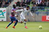 Nabil FEKIR / Dennis APPIAH - 09.05.2015 -  Caen / Lyon  - 36eme journee de Ligue 1<br />Photo : Vincent Michel / Icon Sport