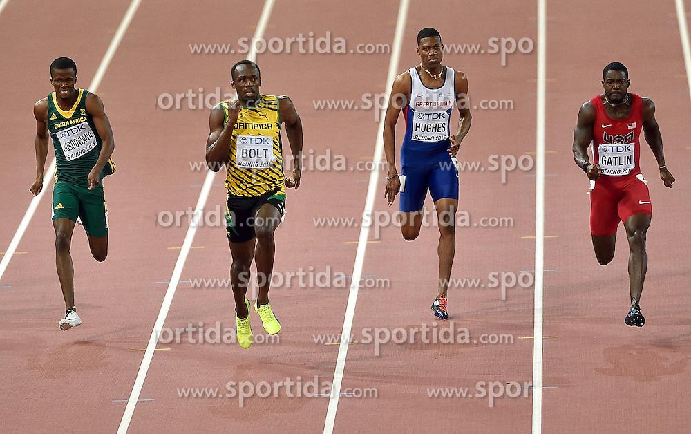 27-08-2015 CHN: IAAF World Championships Athletics day 6, Beijing<br /> 200m: Justin Gatlin USA, Zharnel Hughes GBR, Usain Bolt JAM, Anaso Jobodwana RSA. Usain Bolt won with time 19.55s