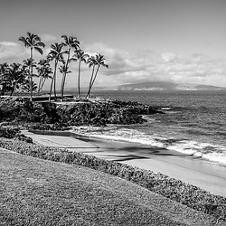 Maui Hawaii Ulua Beach black and white photo in Wailea Makena with Kaho'olawe Island Reserve and the Pacific Ocean. Copyright ⓒ 2019 Paul Velgos with All Rights Reserved.