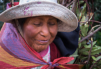 AMANTANI ISLAND, PERU - CIRCA APRIL 2014: Portrait of old woman from Amantani Island in Peru