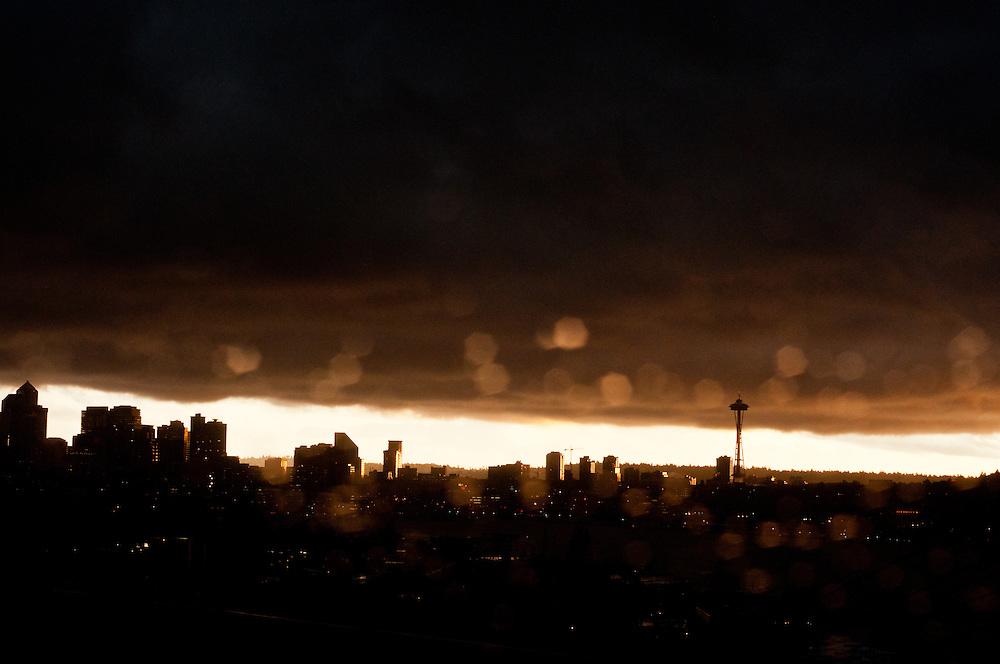 Sunset hits downtown Seattle, Washington skyline.