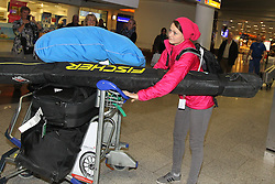 14.02.2014, Fraport, Fankfurt, GER, Sochi, 2014, Ankunft, im Bild Olympiasiegerin Carina Vogt am Frankfurter Flughafen, // during the Arrival of Olympic Skijumping Champion Carina Vogt at the Fraport in Fankfurt, Germany on 2014/02/14. EXPA Pictures © 2014, PhotoCredit: EXPA/ Eibner-Pressefoto/ RRZ<br /> <br /> *****ATTENTION - OUT of GER*****