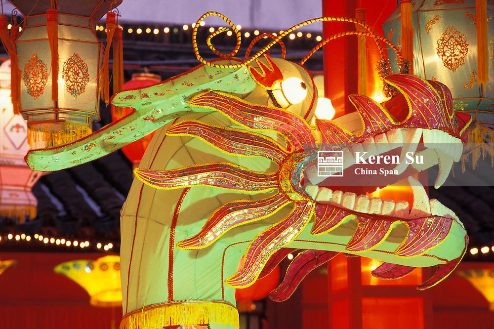 Dragon lantern in Confucius Temple at Lantern Festival, Nanjing, Jiangsu Province, China