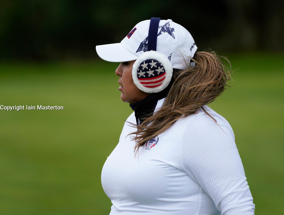 Auchterarder, Scotland, UK. 14 September 2019. Saturday afternoon Fourballs matches  at 2019 Solheim Cup on Centenary Course at Gleneagles. Pictured; Lizette Salas with ear muffs on a cold day, Iain Masterton/Alamy Live News