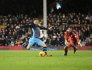 Sheffield Wednesday striker Gary Hooper with a chance one on one during the Sky Bet Championship match between Fulham and Sheffield Wednesday at Craven Cottage, London, England on 2 January 2016. Photo by Matthew Redman.
