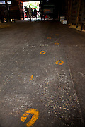 Painted horseshoes on the floor at the Palmetto Carriage barn in Charleston, SC. Palmetto is one of several carriage tour companies providing horse and mule pulled carriage tours of the historic section of Charleston, SC.