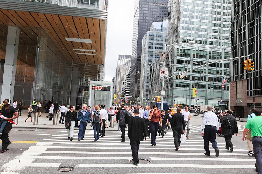 pedestrians walking in Midtown Manhattan