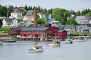 An industrial building on the harbor in Jonesport, Maine.