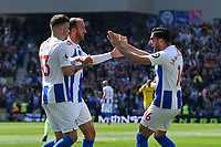 BRIGHTON, ENGLAND - MAY 12:    Glenn Murray (17) of Brighton and Hove Albion celebrates after he scores a goal to give a 1-0 lead to the home team  during the Premier League match between Brighton & Hove Albion and Manchester City at American Express Community Stadium on May 12, 2019 in Brighton, United Kingdom. (MB Media)