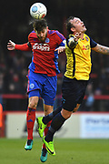 Aldershot Town defender Will Evans (5) and Ebbsfleet United forward Danny Kedwell (9) during the Vanarama National League match between Aldershot Town and Ebbsfleet United at the EBB Stadium, Aldershot, England on 20 January 2018. Photo by Alistair Wilson.