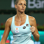 March 18, 2016, Palm Springs, CA:<br /> Karolina Pliskova in action in the women's semi-final match against Victoria Azarenka during the 2016 BNP Paribas Open at the Indian Wells Tennis Garden in Indian Wells, California Friday, March 18, 2016.<br /> (Photos by Billie Weiss/BNP Paribas Open)