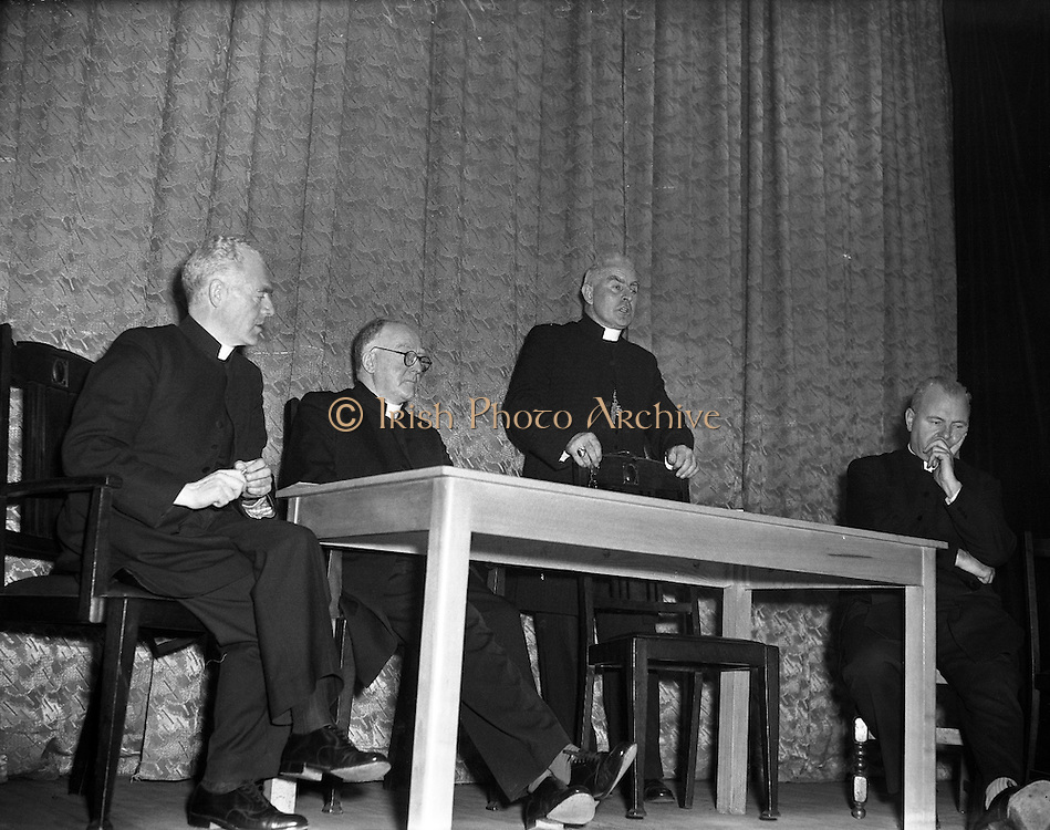 "Most Reverend Dr Bishop Lucey of Cork delivers a lecture in Fr Matthew Hall for Centenary.10/10/1956..Cornelius ""Con"" Lucey (1902–82) was a Roman Catholic Bishop of Cork and Ross...Cornelius Lucey was born into a farming family at Carrigrohane, near Cork City. He studied at St Finbarr's College, Farranferris, the diocesan college. He graduated from St Patrick's College, Maynooth with BC and BCL, and obtained MAs at Innsbruck University in 1927–29 and then University College Dublin...Lucey was ordained a priest in 1927. He held the Chair of Philosophy and Political Theory at St. Patrick's College, Maynooth, from 1929 to 1950. He was one of the founders of Christus Rex, a priest's society devoted to social issues, on which he was a prominent commentator. In 1951 he was appointed bishop of the diocese of Cork, from 1958 united to the Diocese of Ross. He founded the St. Anne's Adoption Society in 1954. His outspoken sermons, often given at confirmations, made him something of a thorn in the side of the establishment. His views on matters of faith and morals were conservative, and he was involved in a controversy in the 1960s, when he withdrew the diocesan faculties of Father James Good, a lecturer at University College, Cork, for publicly dissenting from the teaching of Pope Paul VI. He started the Cork diocesan mission to Peru, and many priests from Cork ministered there from 1961...Lucey retired as bishop in 1980, in the early stages of leukemia. He went to the Turkana District in Kenya to work as an ordinary curate with Good, who had gone there some years earlier...After nearly two years in Kenya he became seriously ill. He was flown back to Cork in September 1982 and died within days...In 1985, as part of the Cork 800 festival, a site between Grand Parade and South Main Street was developed into an urban park named ""Bishop Lucey Park"".."