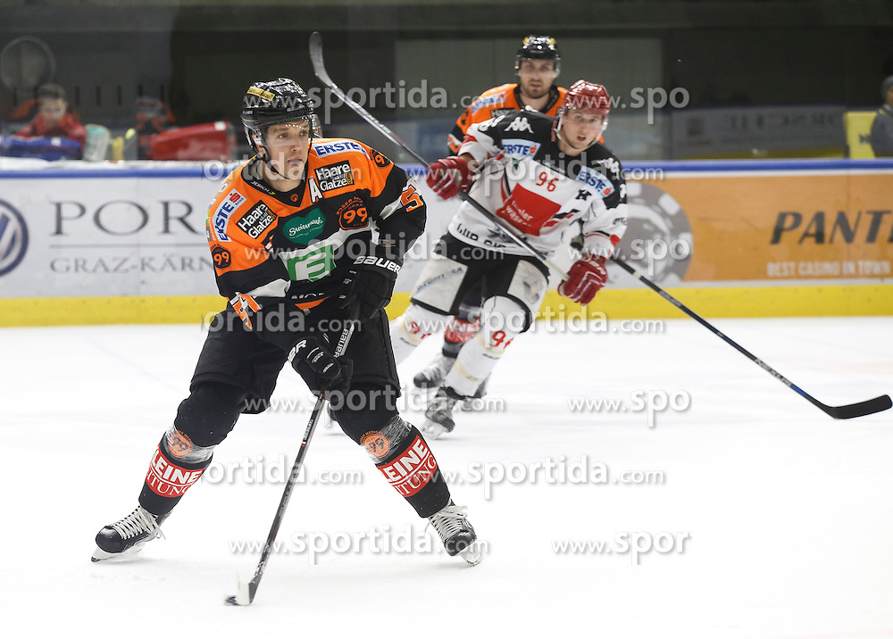 02.12.2016, Merkur Eisarena, Graz, AUT, EBEL, Moser Medical Graz 99ers vs HC TWK Innsbruck Die Haie, 25. Runde, im Bild Daniel Woger (#51, Moser Medical Graz 99ers) und Mario Huber (#96, HC TWK Innsbruck) // during the Erste Bank Icehockey League 25th Round match between Moser Medical Graz 99ers and HC TWK Innsbruck at the Merkur Ice Arena, Graz, Austria on 2016/12/02, EXPA Pictures © 2016, PhotoCredit: EXPA/ Erwin Scheriau