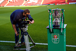 LIVERPOOL, ENGLAND - Wednesday, September 26, 2018: The Football League Cup trophy, with Carabao branding, on display before the Football League Cup 3rd Round match between Liverpool FC and Chelsea FC at Anfield. (Pic by David Rawcliffe/Propaganda)