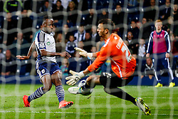 A shot from Saido Berahino of West Brom late in added time is saved by Max Crocombe of Oxford United leading to extra time - Photo mandatory by-line: Rogan Thomson/JMP - 07966 386802 - 26/08/2014 - SPORT - FOOTBALL - The Hawthorns, West Bromwich - West Bromwich Albion v Oxford United - Capital One Cup Round 2.