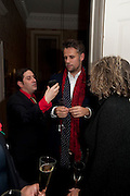 BERNIE KATZ; RICHARD BACON;, Streetsmart Reception at 11 Downing St. London. 1 November 2011. <br /> <br />  , -DO NOT ARCHIVE-© Copyright Photograph by Dafydd Jones. 248 Clapham Rd. London SW9 0PZ. Tel 0207 820 0771. www.dafjones.com.