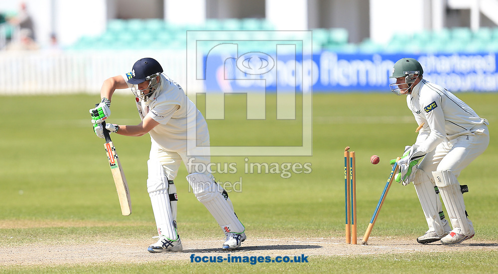 Gareth Andrew of Worcestershire County Cricket Club clean bowls Darren Stevens of Kent County Cricket Club during day 4 of the LV County Championship Div Two match at New Road, Worcester<br /> Picture by Michael Whitefoot/Focus Images Ltd 07969 898192<br /> 16/04/2014