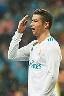 Cristiano Ronaldo (forward; Real Madrid) in action during La Liga match between Real Madrid and Villareal CF at Santiago Bernabeu on January 13, 2018 in Madrid