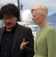Director Bong Joon Ho, actress Tilda Swinton at the Okja film photo call at the 70th Cannes Film Festival Friday 19th May 2017, Cannes, France. Photo credit: Doreen Kennedy
