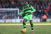 Forest Green Rovers Dale Bennett(2) passes the ball forward during the EFL Sky Bet League 2 match between Morecambe and Forest Green Rovers at the Globe Arena, Morecambe, England on 17 February 2018. Picture by Shane Healey.