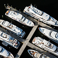 Aerial view of Palm Beach waterfront, marina, yachts close up looking down.