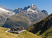 Harris Saddle day shelter, Routeburn Track, on the border between Fiordland and Mount Aspiring National Parks, South Island, New Zealand. In 1990, UNESCO honored Te Wahipounamu - South West New Zealand as a World Heritage Area.