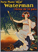 Carry the 'Ideal' Waterman pen, the weapon of peace.' Advertisement for Waterman ink pens published in France, 1919.