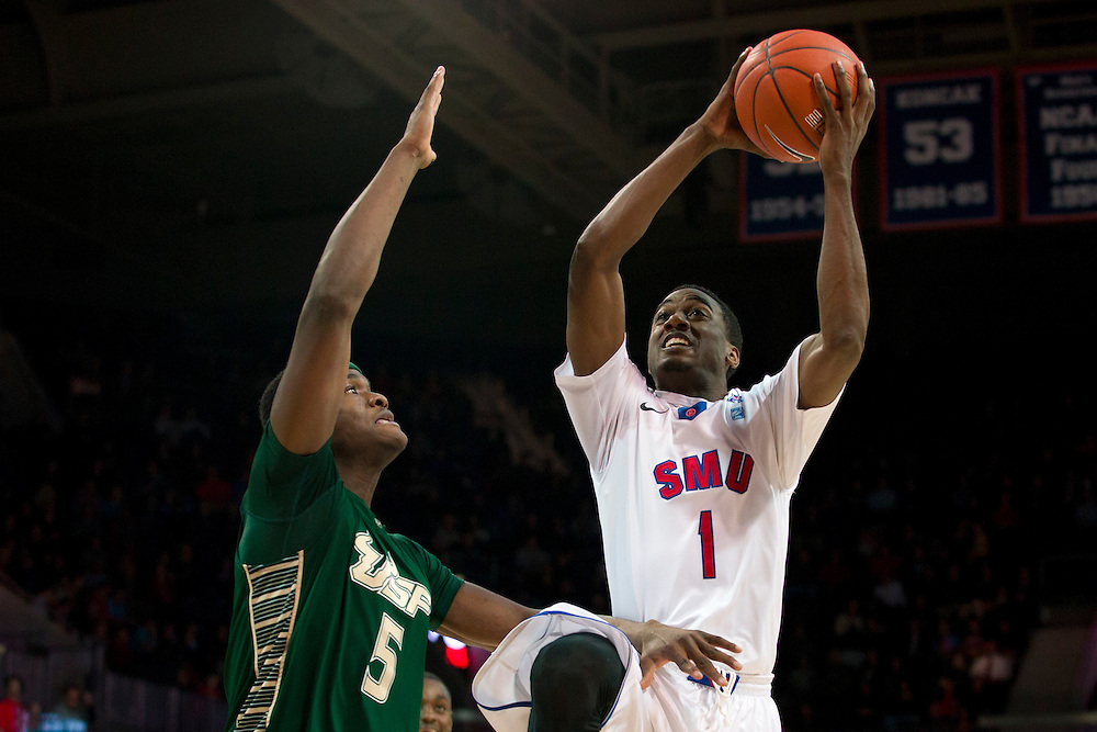 DALLAS, TX - JANUARY 15: Ryan Manuel #1 of the SMU Mustangs drives to the basket against the South Florida Bulls on January 15, 2014 at Moody Coliseum in Dallas, Texas.  (Photo by Cooper Neill/Getty Images) *** Local Caption *** Ryan Manuel