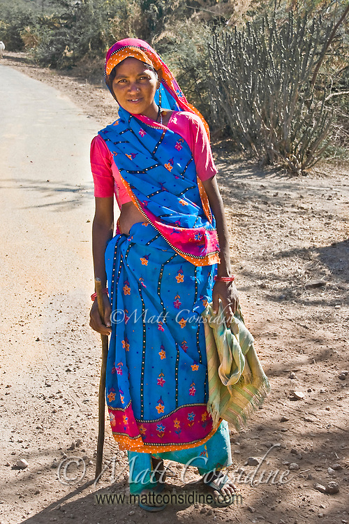 Woman in traditional sari in outback Rajasthan.<br /> (Photo by Matt Considine - Images of Asia Collection)