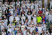 Hartlepool United fans, dressed as Storm Troopers, singing to the end of the game during the Sky Bet League 2 match between Plymouth Argyle and Hartlepool United at Home Park, Plymouth, England on 7 May 2016. Photo by Graham Hunt.