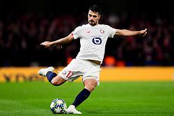 Zeki Celik of Lille has a shot on goal  - Mandatory by-line: Ryan Hiscott/JMP - 10/12/2019 - FOOTBALL - Stamford Bridge - London, England - Chelsea v Lille - UEFA Champions League group stage