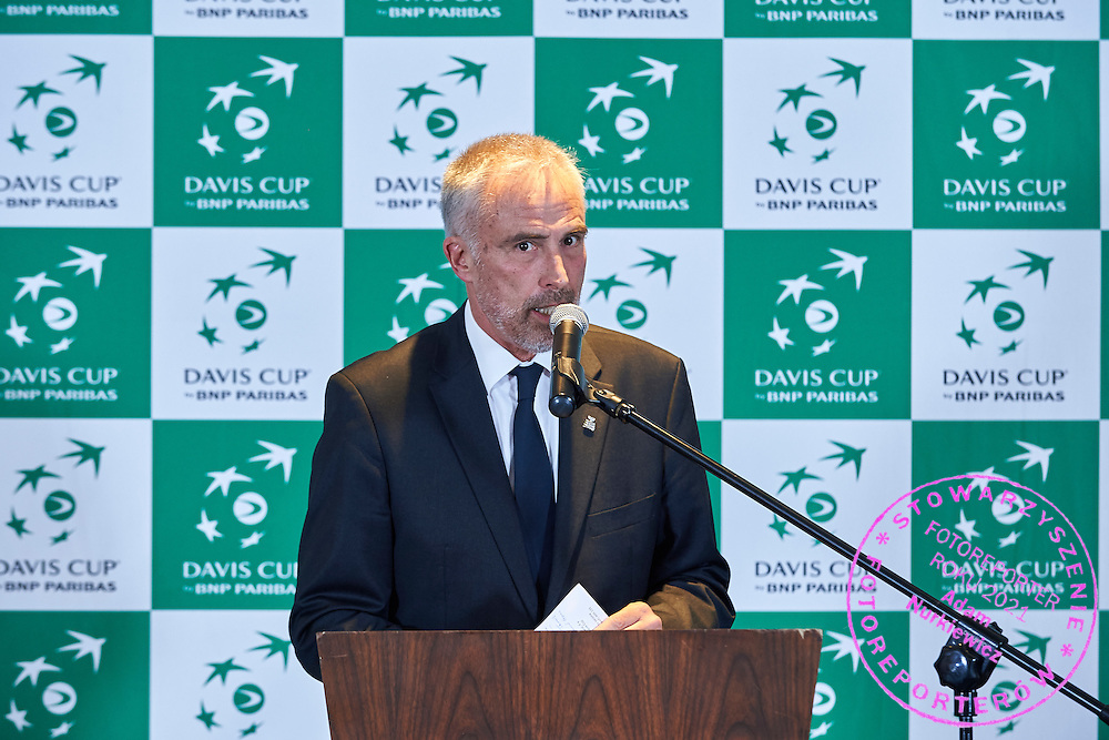 GDANSK, POLAND - 2016 MARCH 02: Juan Margets International Tennis Federation (ITF) executive vice president speaks while official dinner at Sheraton Hotel two days before the Davies Cup / World Group 1st round tennis match between Poland and Argentina at Ergo Arena on March 2, 2016 in Gdansk, Poland<br /> <br /> Picture also available in RAW (NEF) or TIFF format on special request.<br /> <br /> Any editorial, commercial or promotional use requires written permission.<br /> <br /> Mandatory credit:<br /> Photo by &copy; Adam Nurkiewicz / Mediasport