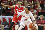 January 20, 2014: Shavon Shields (31) of the Nebraska Cornhuskers dribbling the ball against LaQuinton Ross (10) of the Ohio State Buckeyes at the Pinnacle Bank Arena, Lincoln, NE. Nebraska won in the game against Ohio State 68 to 62.