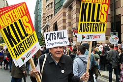 London, June 20th 2015. Thousands of people converge on the streets of London to join the People's Assembly Against Austerity's march from the Bank of England to Parliament Square.  //Contact for image Licencing: Paul@pauldaveycreative.co.uk Tel:07966016296