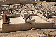 Israel, Jerusalem, Israel Museum. Model of Jerusalem in the late Second Temple period 66CE scale of 1:50. Details of the Herodian temple and temple mount