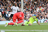 LONDON, ENGLAND - MAY 14:LONDON, ENGLAND - MAY 14:Andreas Weimann, of Derby County slides into the Fulham keeper