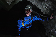 Caving at Black Hole Quarry, Little Langdale, Lake District, Cumbria, England, UK