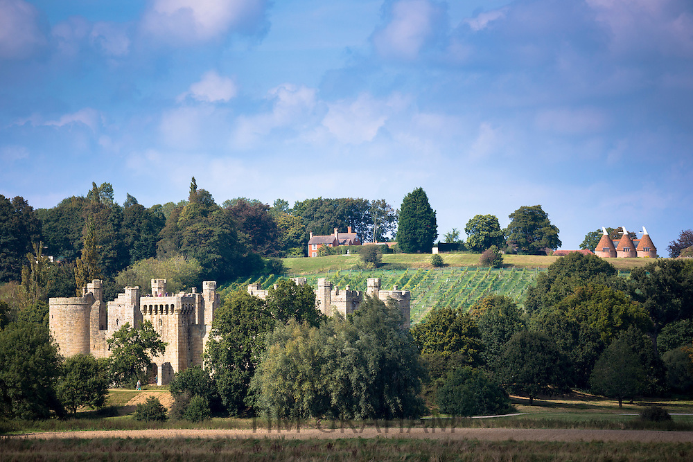 Spectacular 14th Century Bodiam Castle, National Trust, vineyard and oast houses on East Sussex and Kent border, England, UK