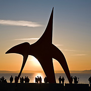 Eagle, painted steel sculpture by Alexander Calder circa 1971 at the Seattle Art Museum Olympic Sculpture Park, Seattle, WA with Puget Sound and Olympic Mountains at sunset