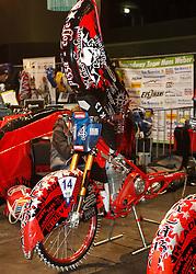 07.03.2015, Assen, NLD, FIM Eisspeedway Gladiators, im Bild Das Motorrad von 14 Antonin Klatovsky / Czech Republic // during FIM Eisspeedway Gladiators at Assen, Netherlands on 2015/03/07. EXPA Pictures © 2015, PhotoCredit: EXPA/ Eibner-Pressefoto/ Stiefel<br /> <br /> *****ATTENTION - OUT of GER*****